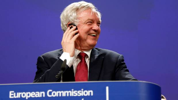 Britain's Secretary of State for Exiting the European Union David Davis speaks after the first day of Brexit talks in ...