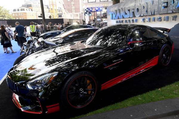 """This Mercedes-AMG GT R that stars as Autobot """"Drift"""" at the London premiere of Transformers: The Last Knight."""