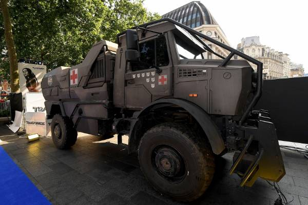 A Transformers vehicle at the red carpet premiere of The Last Knight in London.