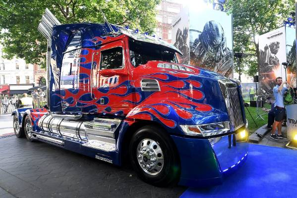 The truck which co-stars as Autobot Optimus Prime at the global premiere of Transformers: The Last Knight in London.