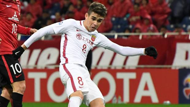 Oscar of Shanghai SIPG in action during an AFC Champions League Group F match against Urawa Red Diamonds in April.