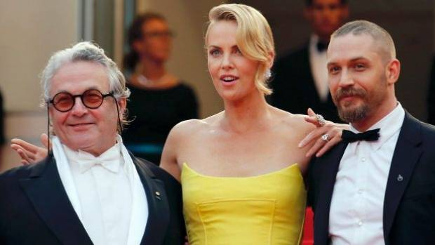 Director George Miller, Charlize Theron and Tom Hardy at the premiere of Mad Max: Fury Road.