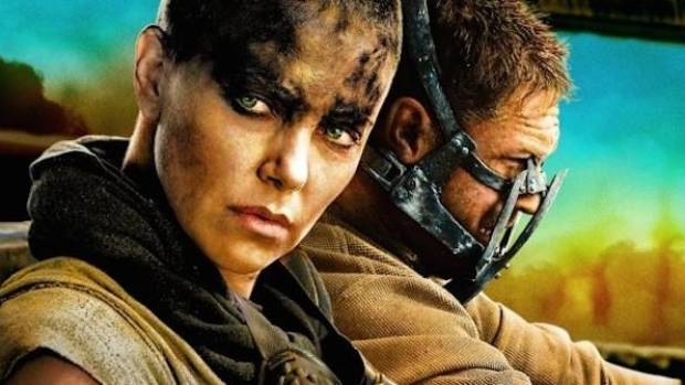 Charlize Theron and Tom Hardy as Imperator Furiosa and Mad Max in Mad Max: Fury Road.