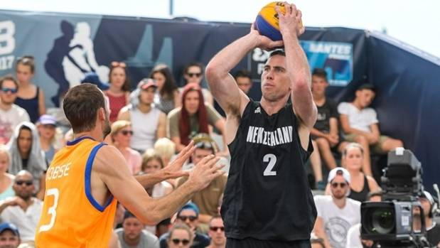 Aaron Bailey-Nowell puts up a shot at the 3x3 World Cup in France.