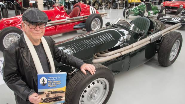 Wellington writer and motorsport enthusiast Terry Collier with a Maserati 250F at Southward Car Museum.