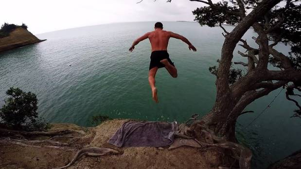Matt Bolton and friends cliff jumping at Little Manly.