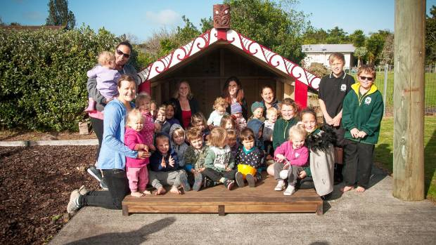 The blessing of Te Whare Iti at the Maungakaramea Playcentre on June 14.
