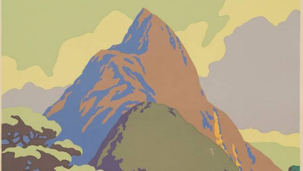 An example of NZ Mitre Peak, Milford Sound Vintage Poster Est: $600 – $1000