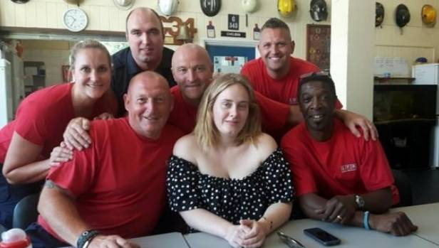 Adele popped by the Chelsea fire station to say thank you to the firefighters who attended the Grenfell Tower blaze.