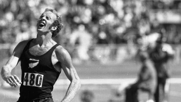 Dick Tayler shows pain and delight after his upset win in the 10,000 metres at the 1974 Commonwealth Games in Christchurch.