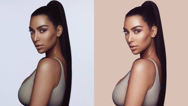 The original image, at left, and a subsequent version where Kim Kardashian looks lighter.