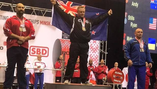 New Zealand powerlifter Andy Mahon won a gold medal and two silvers at the 2017 International Powerlifting Federation ...