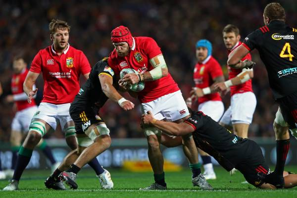 James Haskell of the Lions is wrapped up by the Chiefs defence.