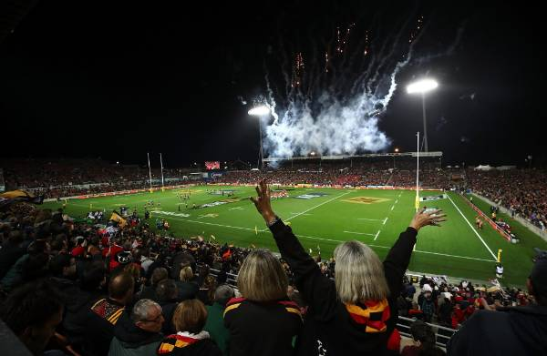 Fireworks before kick-off in Waikato.