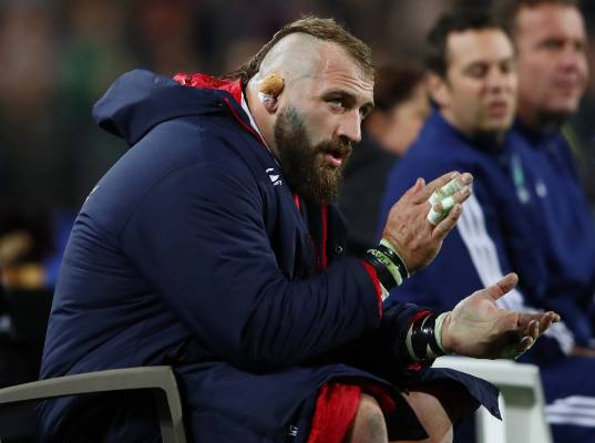 The Lions' Joe Marler of the sits in the sin bin after receiving a yellow card for a late tackle.
