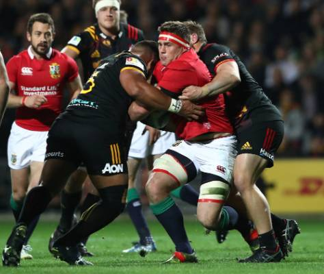 CJ Stander of the Lions is tackled.
