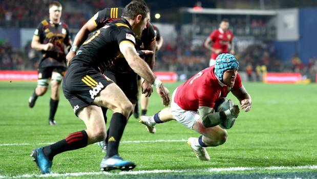 Jack Nowell scores one of his two tries for the British and Irish Lions against the Chiefs.