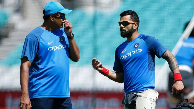 Anil Kumble and Virat Kohli chat in the nets during the Champions Trophy.