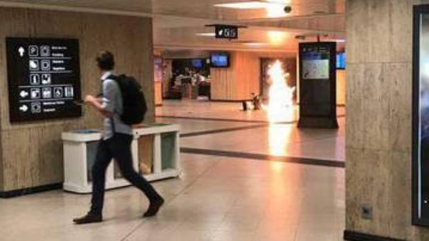 A widely shared image appears to show a small explosion being contained inside Brussels Central Station.
