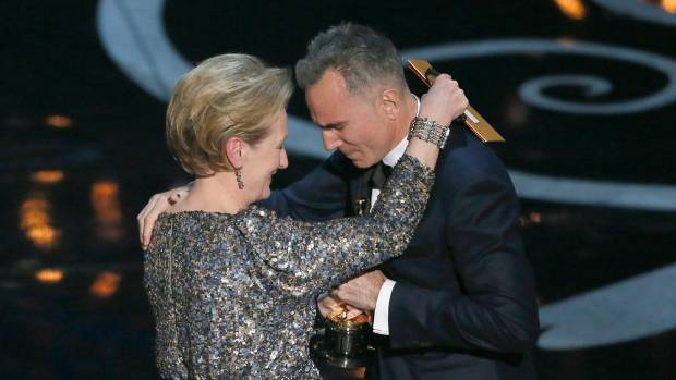 Meryl Streep gives the Best Actor Oscar for Lincoln to an emotional Daniel Day-Lewis during the Academy Awards in 2013.