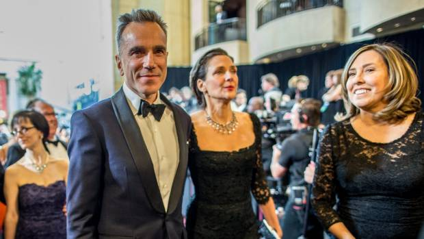 Actor Daniel Day-Lewis and wife Rebecca Miller arrive at the Oscars in 2013.