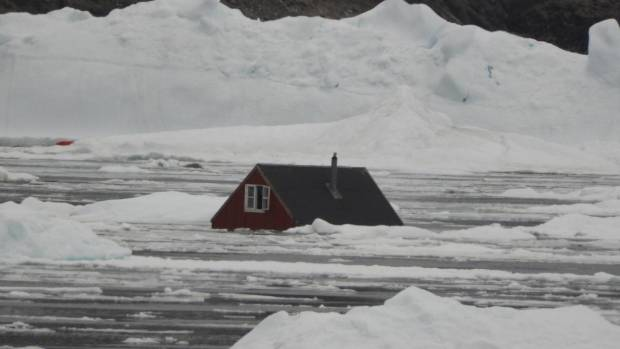The damage resulting from the Greenland tsunami caused by an earthquake included this house that was swept away.