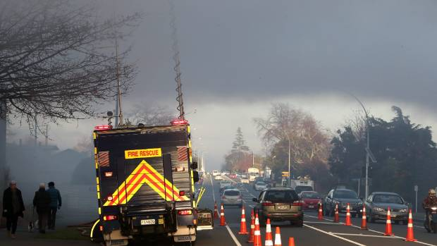 Wednesday's fire sent a huge plume of thick, black smoke over the Nelson suburb of Stoke.