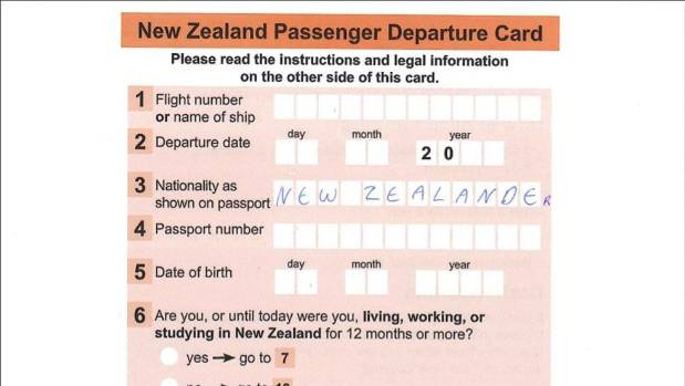 Will new zealand ever do away with airport departure cards there arent enough squares on the nz departure card to state your nationality as ccuart Images