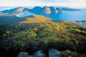 There are spectacular views out over the Freycinet Peninsula.