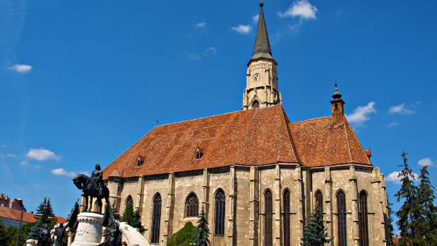 St Michael's Church. Dark, Gothic and imposing, it is the obvious centre of Cluj.