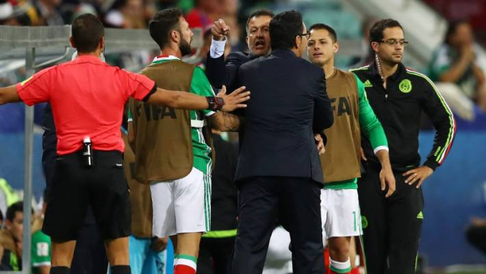 2e219afbc Mexican coach Juan Carlos Osorio launches a tirade towards the Kiwi dugout  at the Confederations Cup