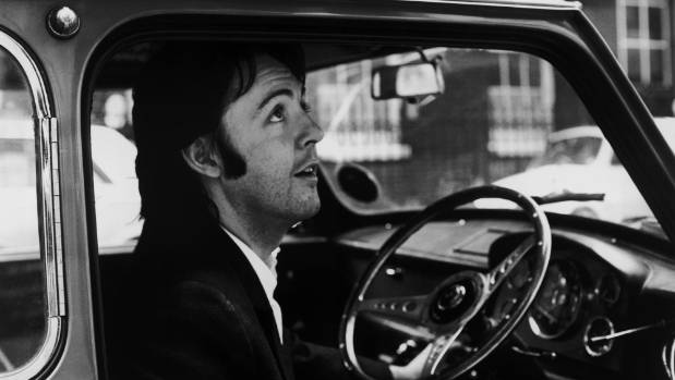 Baby, you can drive my car: Paul McCartney leaving the Apple headquarters in London, 19th April 1969.