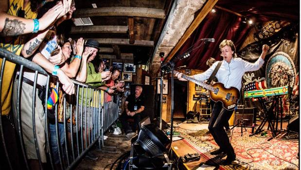 """Sir Paul McCartney performs at a sold out show during the """"One On One"""" tour at Pappy and Harriet's Pioneertown Palace in ..."""