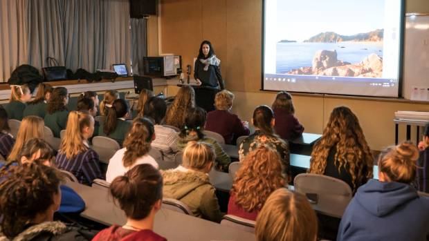 Fulton Hogan sustainability engineer Sophie Kennedy speaks to female secondary students at Ara Institute of Canterbury's ...