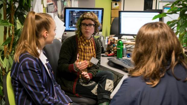 One of the many mentors, Amber Johnson shows Canterbury schoolgirls what her job as part of the Ara IT department entails.