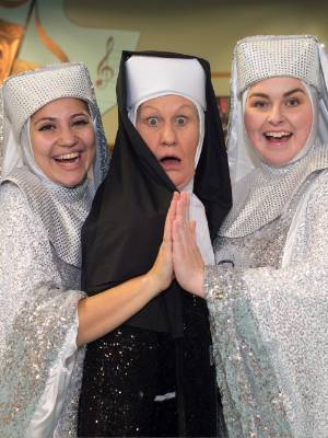 Monique Clementson (Deloris), Annie Sherborne, and Rachael Scott (Sister Mary Patrick) at rehearsals for the ...