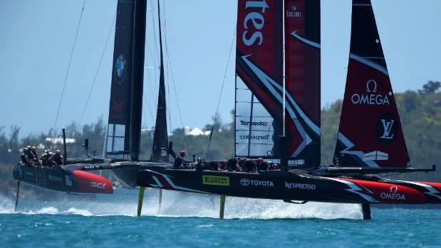 Sailing-New Zealand reach match point against US in America's Cup