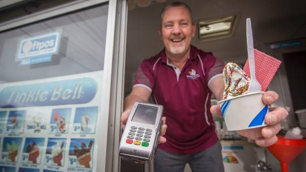 Steven Faulkner says electronic transactions make up at least 40 per cent of his ice cream truck sales.
