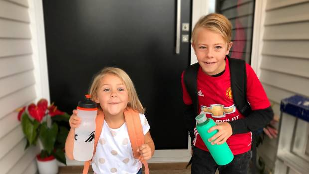 Charlie, 5, and Jack, 8, make sure they take a full water bottle to school every day.