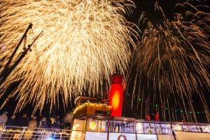 Fireworks over TSS Earnslaw during the annual Winter FestivaL on Friday night.