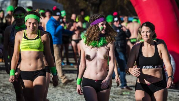 Female competitors in the Undy 500 prepare for the race during the  Queenstown Winter Festival 'Day on the Bay' event at ...