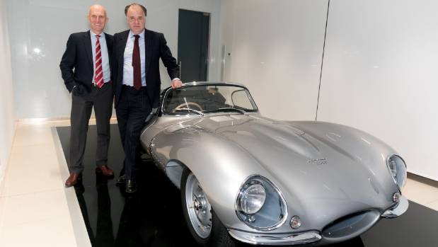 John Edwards (left) of Jaguar SVO with the car's new owner, Michael Giltrap of Giltrap Group.