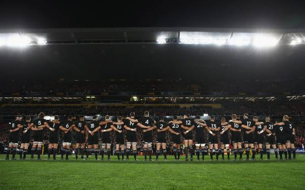 The All Blacks line up at the start of the match.