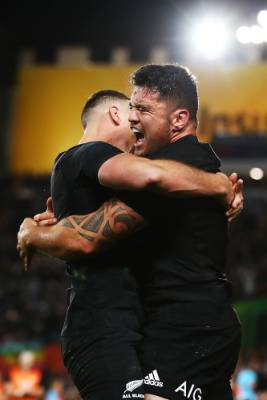 Codie Taylor of the All Blacks celebrates after scoring a try.