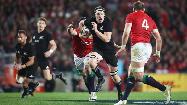 Brodie Retallick on the charge for the All Blacks in their first-test victory over the British & Irish Lions.
