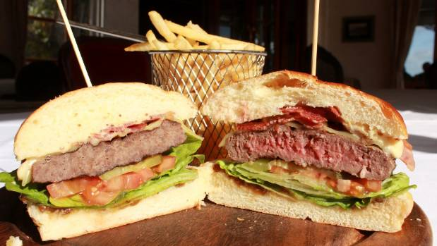 A medium-rare hamburger at the historic Duke of Russell Hotel in Russell, Bay of Islands.