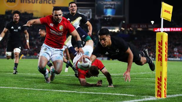 All Blacks wing Rieko Ioane dives in to score his first try against the British & Irish Lions at Eden Park.