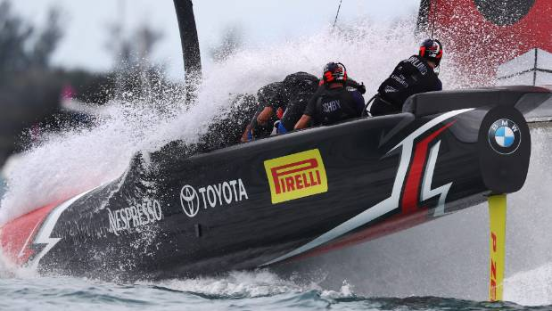 Sailing-New Zealand reach match point against U.S. in America's Cup final