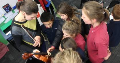 Students from Kaikoura High School, Hapuku School, Kaikoura Primary and St Joseph's School had time with the orchestra.