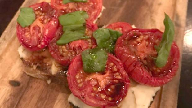 Tomato, basil and white bean bruschetta at Charley Noble.